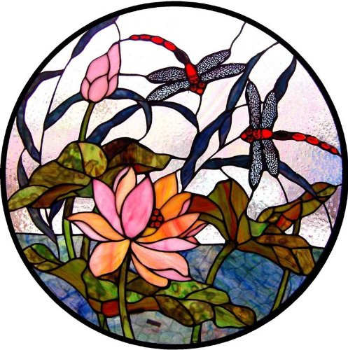 Dragonflies with Lotus Waterlilies in a Pond - Vinyl Stained Glass Film, Static Cling Window - Lilies Water Stained Glass