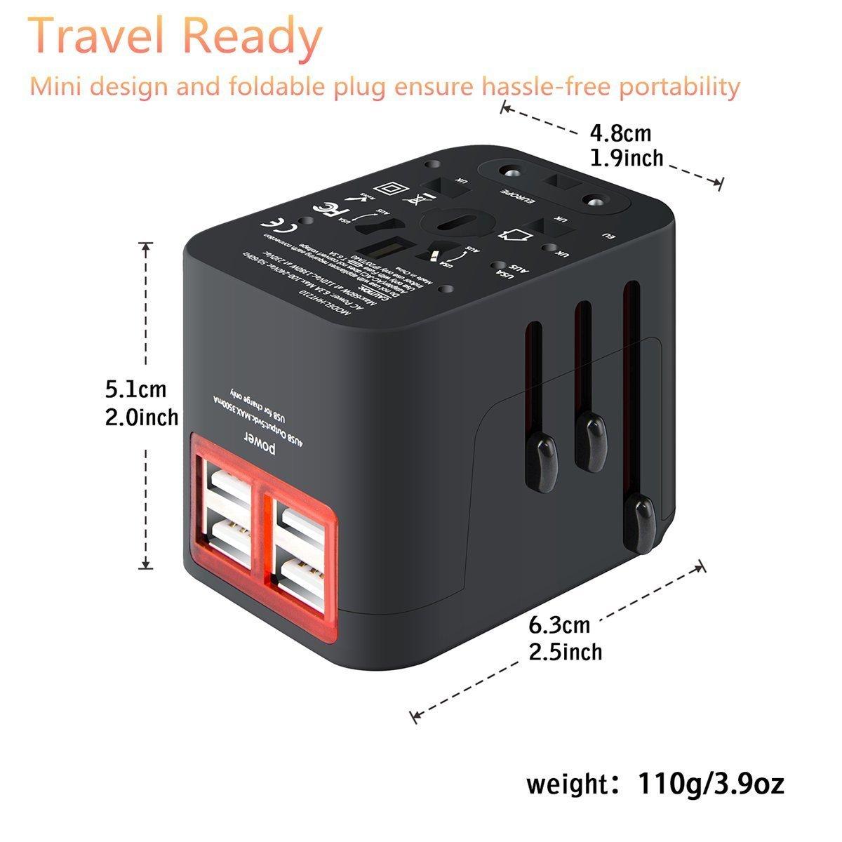 AKNICI Universal Reiseadapter Reisestecker Steckdosenadapter Stromadapter mit 4 USB-Ports 17.5W//3.5A International Adapter f/ür USA China EU England Japan AU Asien /Über 150 L/ändern Schwarz