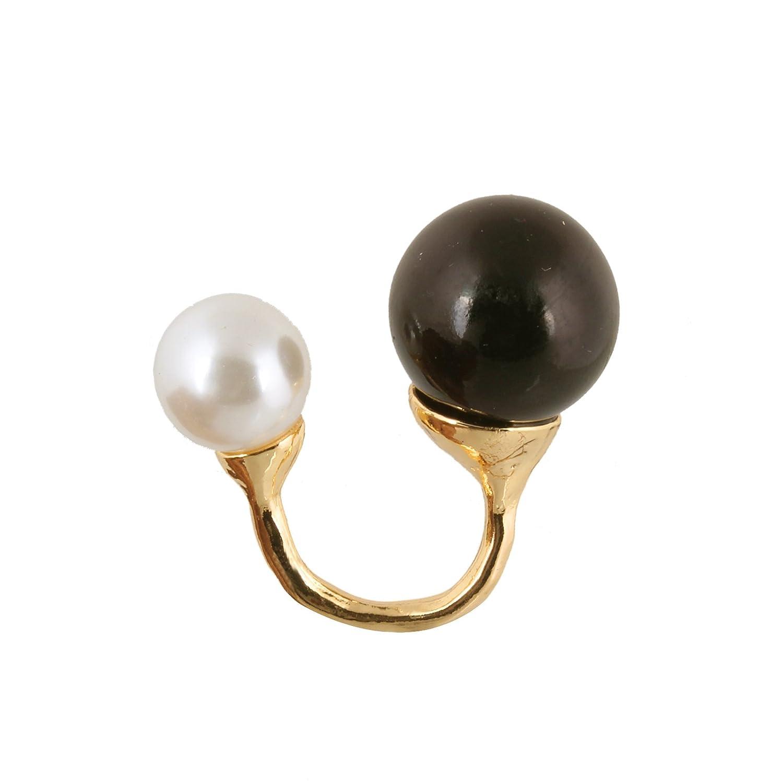 fasherati negro y blanco doble perla anillo para las niñas