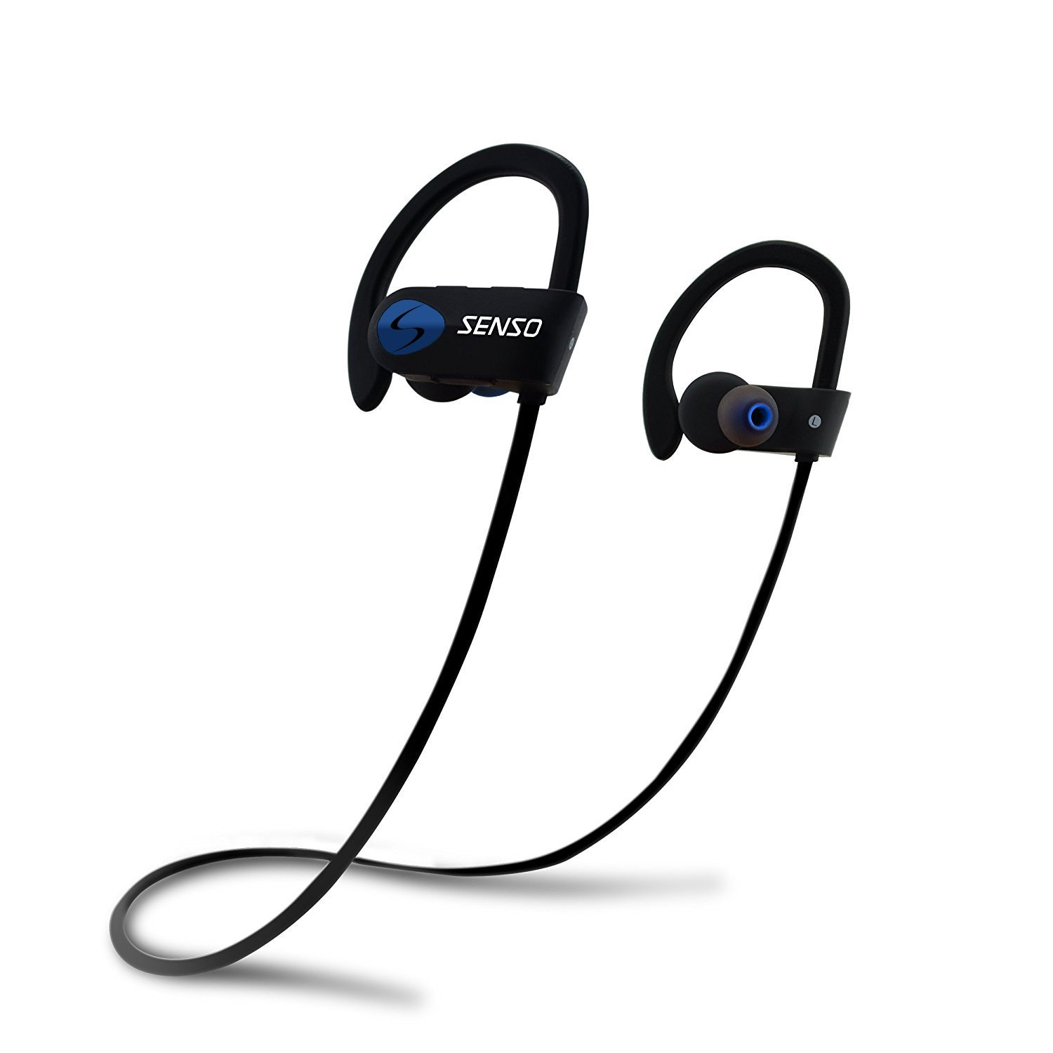 SENSO Bluetooth Headphones, Best Wireless Sports Earphones w/Mic IPX7 Waterproof HD Stereo Sweatproof Earbuds for Gym Running Workout 8 Hour Battery Noise Cancelling Headsets (Blue)