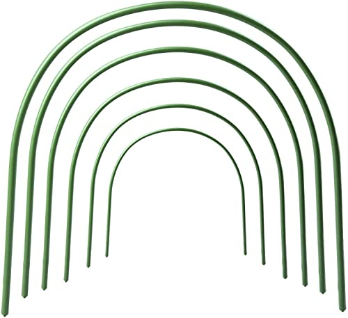 LBZE 4ft Long Steel with Plastic Coated Hoops,Greenhouse Hoops,Grow Tunnel,Support Hoops for Garden Fabric,6Pcs Arch Size 18.9 H x 15.7 W