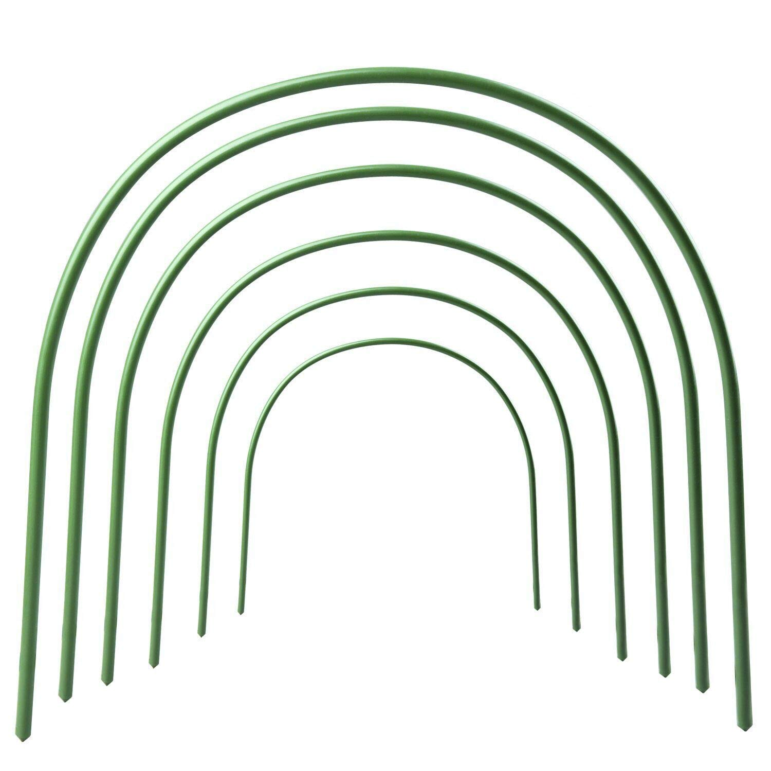 Greenhouse Hoops Rust-free Grow Tunnel 4ft Long Steel with Plastic Coated Support Hoops for Greenhouse, 6 Pack by RTWAY