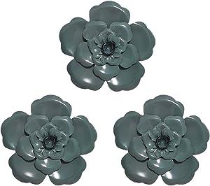 Multiple Layer Flower Metal Wall Art Home Decor Set of 3 (Green)
