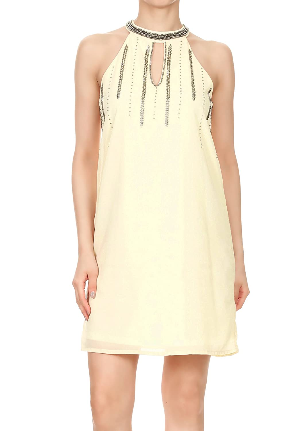 e27c135dab Anna-Kaci Womens Juniors Chiffon Halter Cocktail Party Clubbing Shift Dress  at Amazon Women s Clothing store
