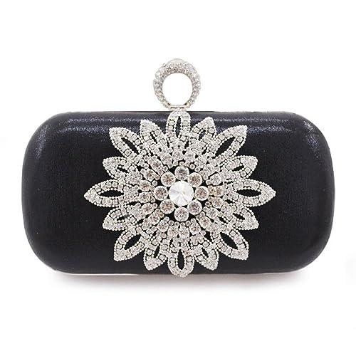 a8d0735f9dd Kingluck Women's Floral Beaded Design Evening Clutch Bags Wedding Purse  (black)