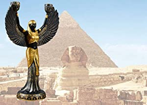 LIUSHI Egyptian Decor Statue, Standing Isis Sculpture, Wings Stretched and Candlestick, Garden and Home Decoration Figurine Polyresin,C