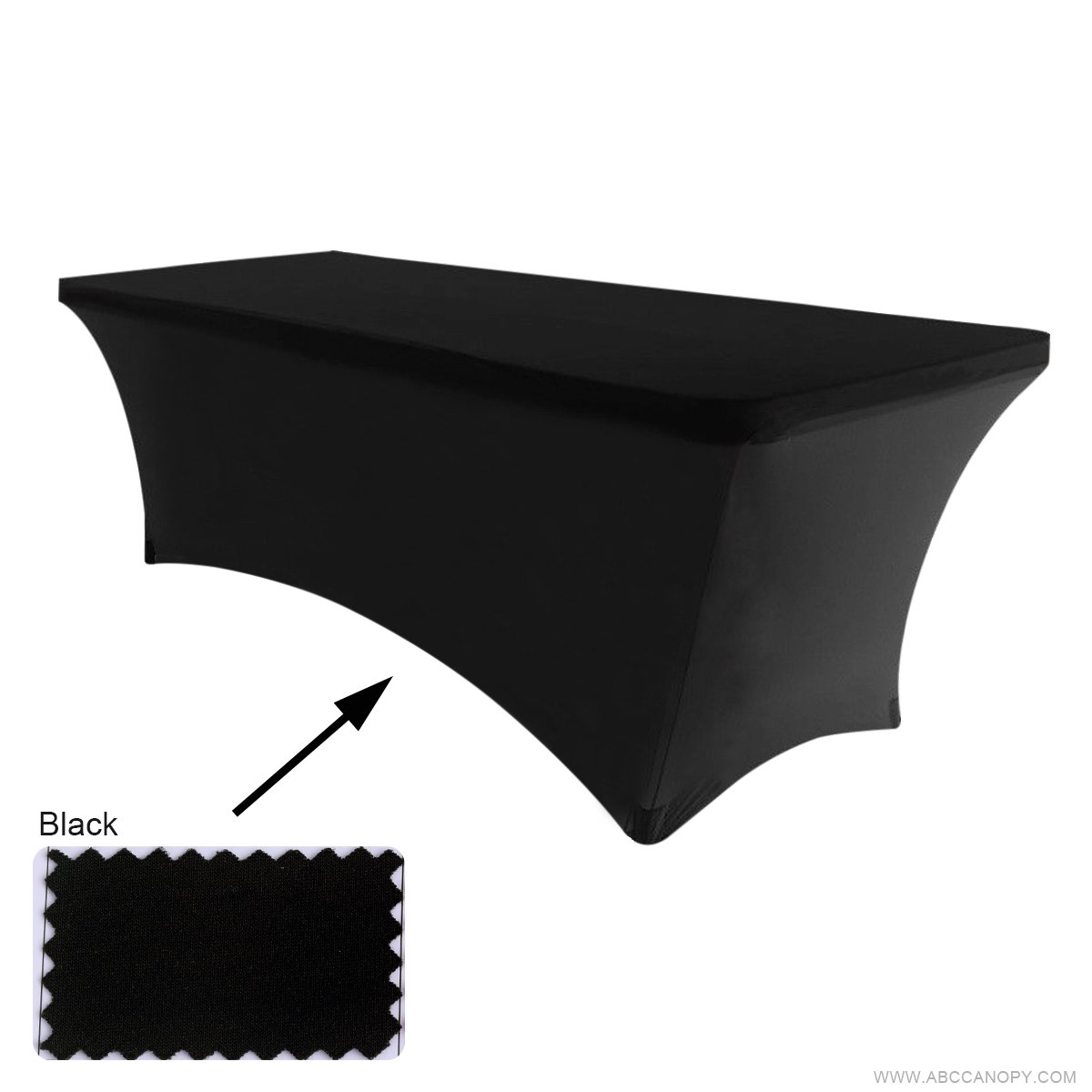 ABCCANOPY Spandex Table Cover 6 ft. Fitted 30+ Colors Polyester Tablecloth Stretch Spandex Table Cover-Table Toppers (Black)