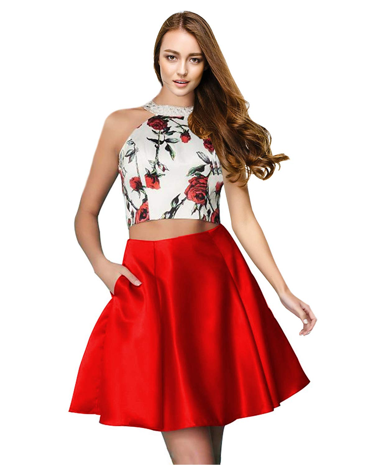 Ever-Beauty Juniors Halter 2 Piece Homecoming Dress Short Floral Sleeveless  Prom Party Dress Pockets Red Plus Size 18
