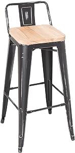 ACME Furniture 96628 Gaius Bar Stool (Set of 2), Ash & Antique Black