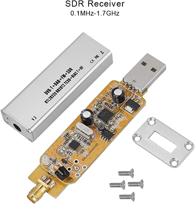 RTL-SDR w//Extended Tuning Range SMA Input 1PPM TCXO 0.1MHz-1.7GHz SDR USB Tuner Receiver RTL2832U /& R820T2-Based Software Defined Radio