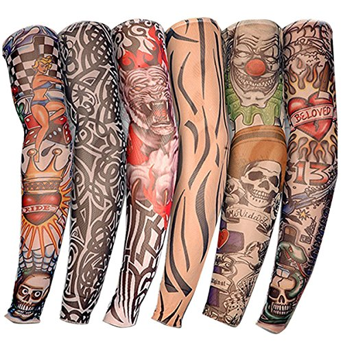 DW 6 PCS New Nylon Elastic Fake Temporary Tattoo Sleeve Designs Body Arm Stockings Tatoo for Cool Men - Arms Nylon