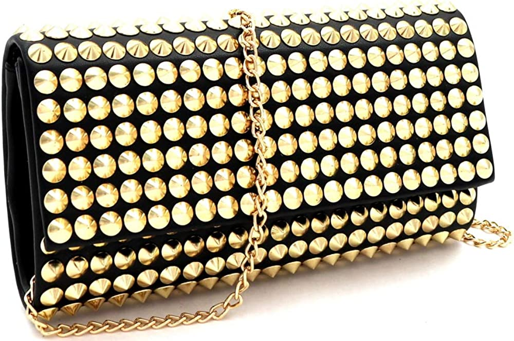 Spike Stud Bling Medium Leather Clutch Purse Crossbody Chain Strap Gold Silver