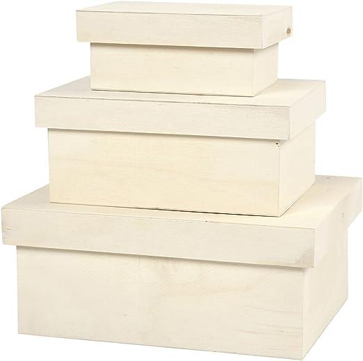 Cajas, medidas 8,5x5,8x4 cm, medidas 12,6x8,8x5,8 cm, madera contrachapada, 3ud, medidas 15,8x12,2x7 cm: Amazon.es: Hogar