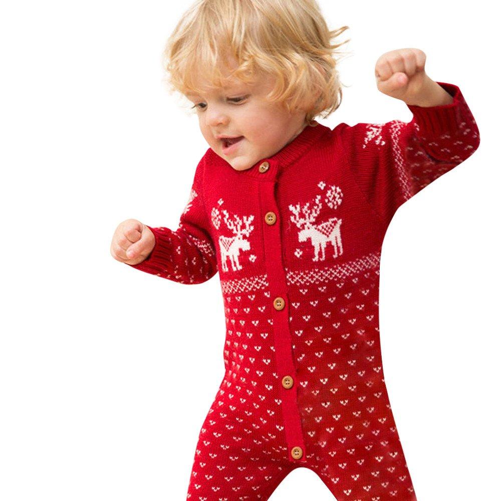 H.eternal Baby Romper Unisex Newborn Overall Long Sleeve Christmas Sweaters Coat Deer Coat Knitted Sweatshirt Jumper Suit