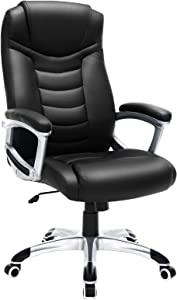SONGMICS Thick Executive Office High Back Large Seat and Tilt Function Ergonomic Swivel Computer Chair PU Black UOBG21B