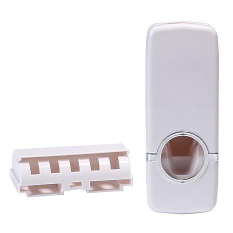 AOLVO - Dispensador de Pasta de Dientes automático para niños con Soporte de Pared para cepillos