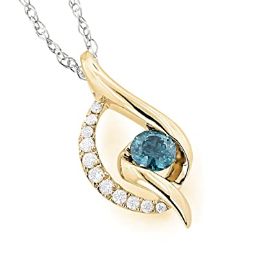 Buy Sheetal Impex 0 30 Tcw Real Round Cut Blue Diamonds Studded 14kt Yellow Gold Beautiful Pendant At Best Offer Price At Amazon In