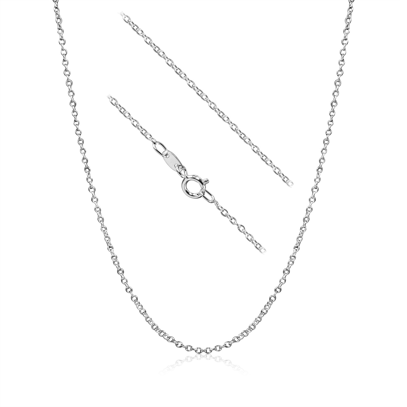 Kezef Sterling Silver 1.5mm Cable Chain Necklace 18 inch