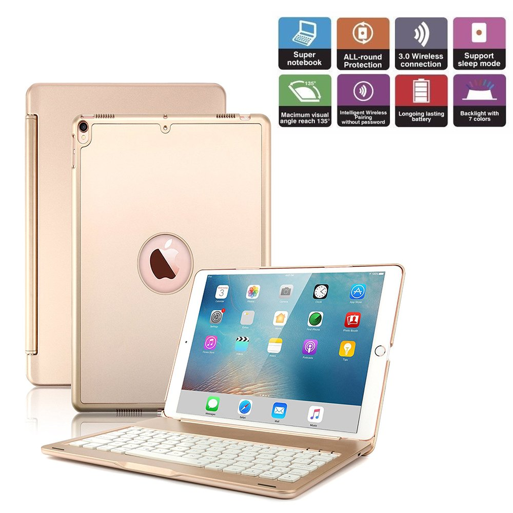 iPad Pro 10.5 Wireless Keyboard Case with Colorful Backlit Addprime Aluminum Alloy Shell 135 Degree Adjustable Angles and Back Plate Chocolate ABS Button iPad A1701/A1709 Bluetooth Keyboard Rose Gold