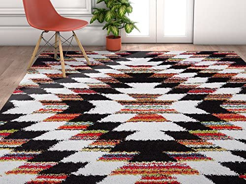 Southwestern Romance Bright Multi Color Moroccan Tribal Medallion Shag 4 x 6 3 11 x 5 3 Area Rug Plush Modern Bohemian Carpet