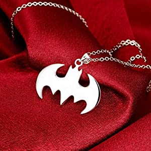 Kollmert Boys Superhero Batman Symbol Silver Necklace Best Gift For Friends Pendant (Silver Batman, Alloy)
