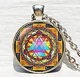 Sacred geometry jewelry, Sri yantra jewelry, necklace for men, Sri yantra necklace