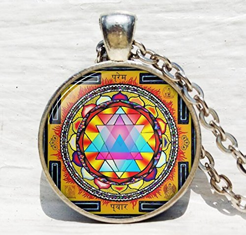Sacred geometry jewelry, Sri yantra jewelry, necklace for men, Sri yantra necklace