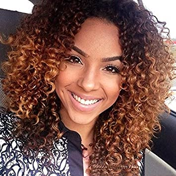 Amazon Com Long Ombre Curly Hair Wigs Afro Kinky Curly Synthetic