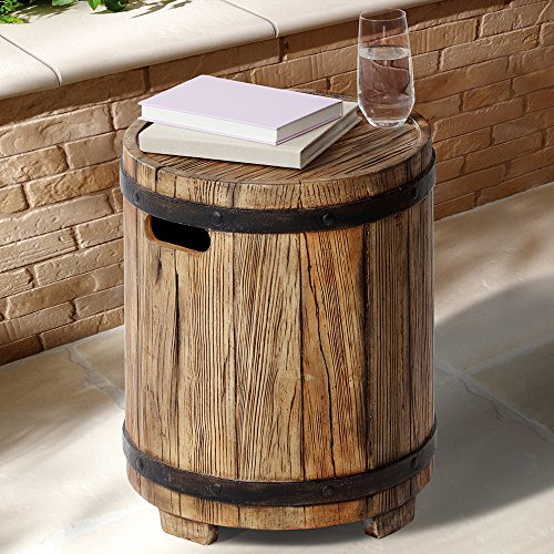 Ove Barrel Multi-Purpose Patio Decor Table, Wood Finish, Brown