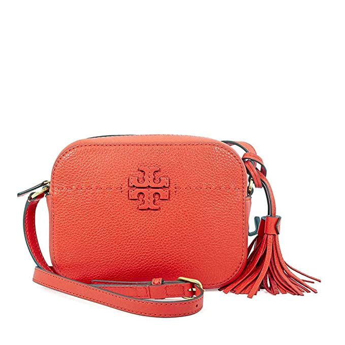 fee95847bf73 Tory Burch McGraw Pebbled Leather Camera Bag- Poppy Red  Amazon.ca   Clothing   Accessories