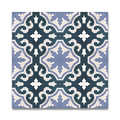 Moroccan Mosaic & Tile House CTP06-07 Tanger Handmade Cement Tile Blue/White/Purple