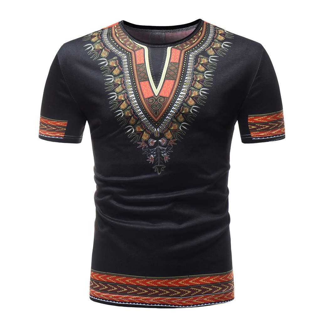 Men's T Shirt,Gibobby Fashion Boys Printed Dress Shirt Summer Casual Short Sleeve Regular Fit T-Shirt V Neck Tops Shirts