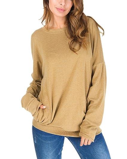 Minetom Mujer Camiseta Mangas Largas Volantes Lunares Blusa Elegante Noche Casual Oficina Amarillo ES 34