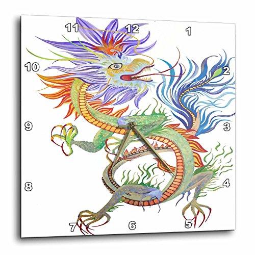 3dRose Taiche - Acrylic Painting - Dragon - Bright and Vivid Chinese Fire Dragon Vector - 10x10 Wall Clock (dpp_264503_1)