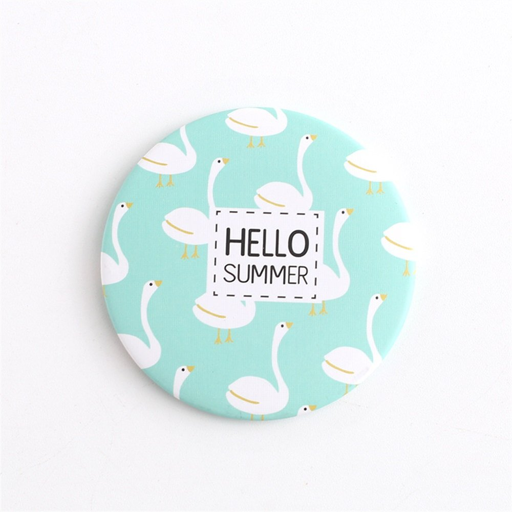 Yingealy Childrens Mirror Mini Round Cartoon Goose Pattern Small Glass Mirrors Circles for Crafts Decoration Cosmetic Accessory