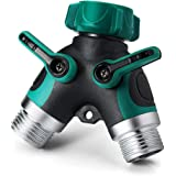 NSEN Y Valve, Hose Splitter, 2 Way Y Connector, with Rubber Grip(Green)
