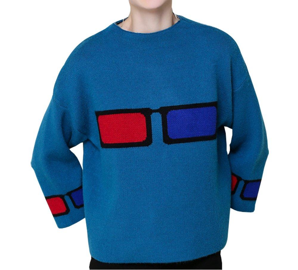 HEYFAIR Women's Glasses Pattern Knitted Pullover Sweater Jumper (2)