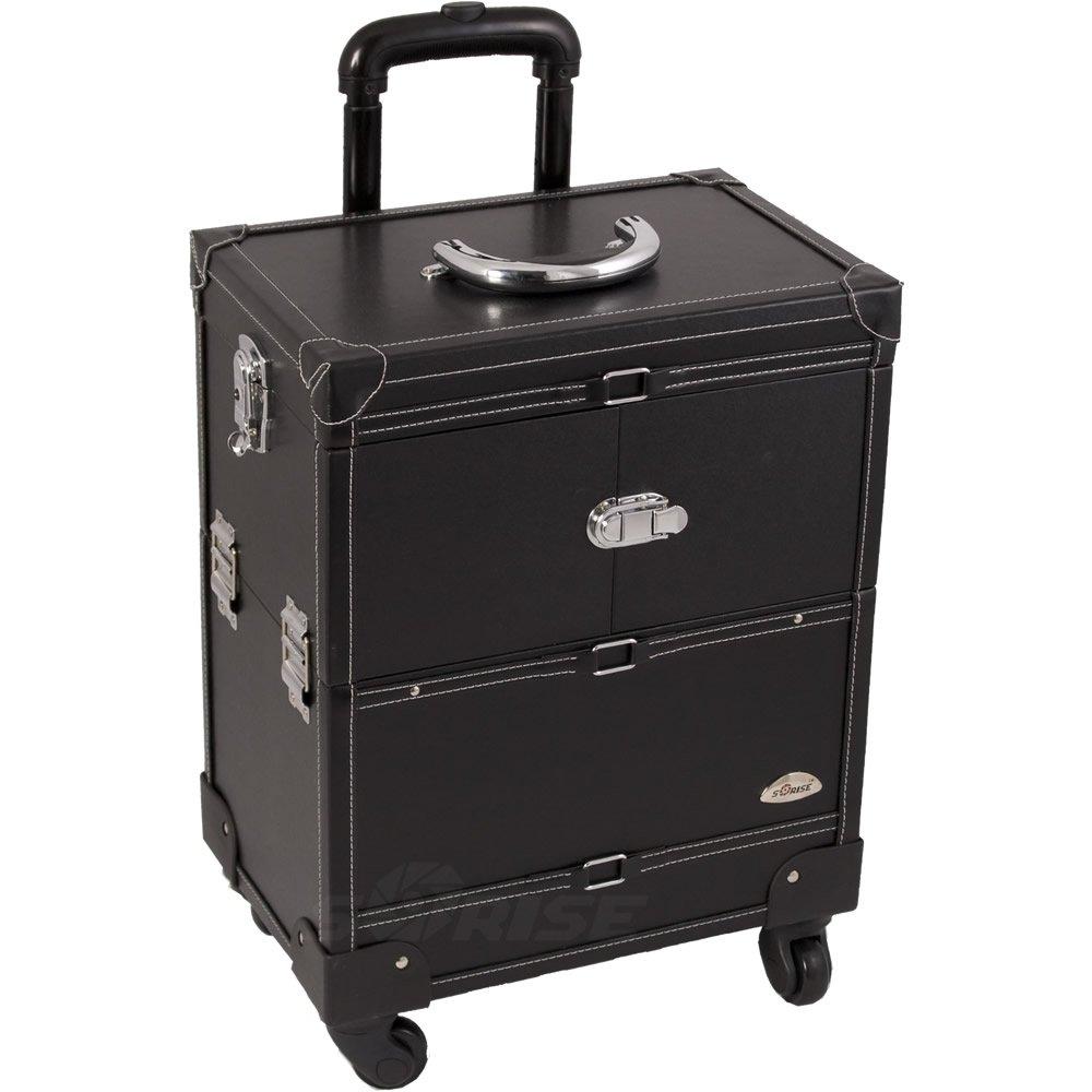 Sunrise Abazia Rolling Makeup Case Professional Nail Travel Wheel Organizer, Black Leatherette, 16 Pound