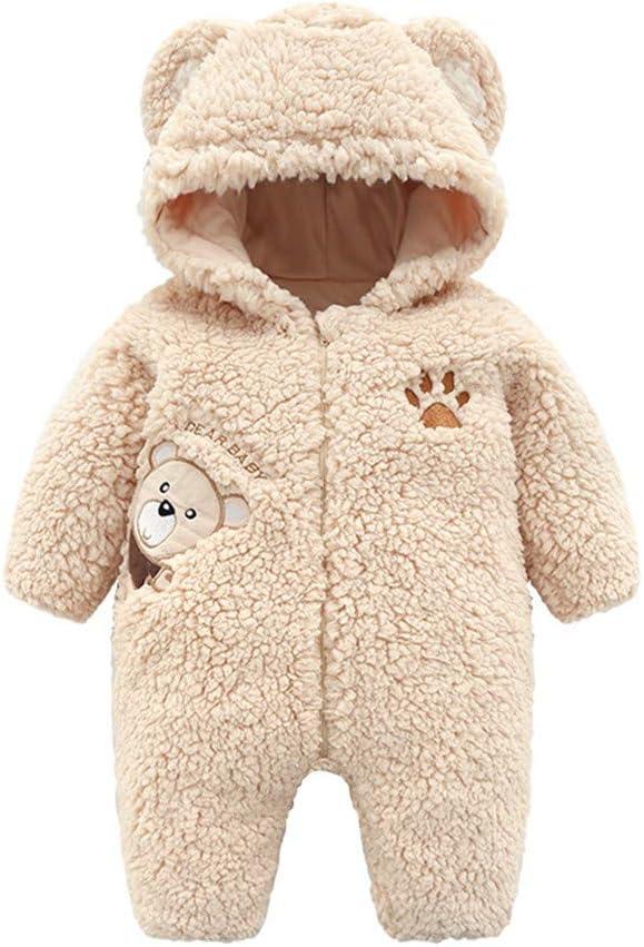 kaiCran Baby Onesie Winter Romper Long Sleeve Hooded Zipper Snowsuit Jumpsuit Outfits Kids