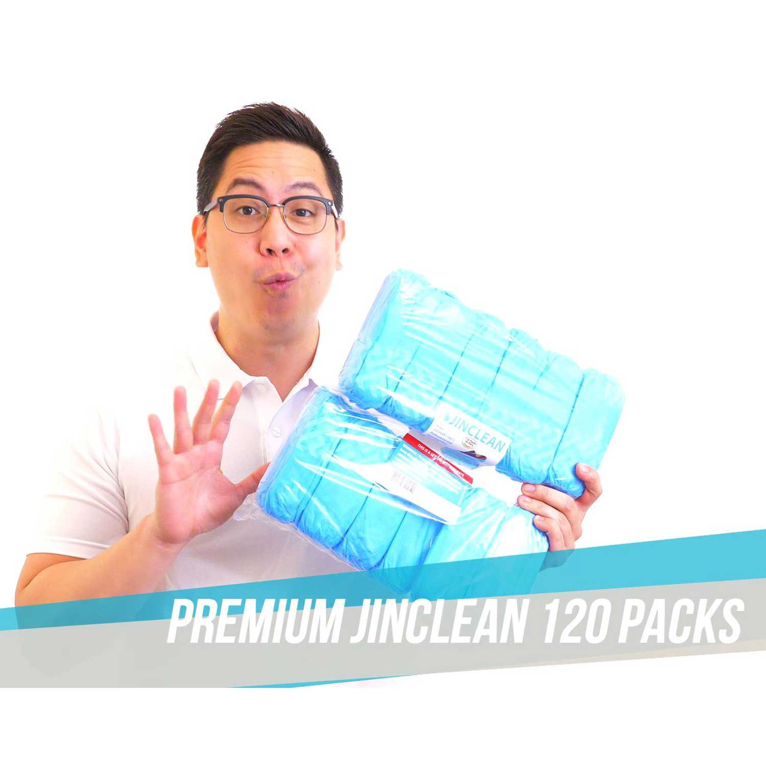 JINCLEAN Premium Shoe Covers 120Packs (60Pairs) | One Free Size Fits Most Max Length - 16.5'', Large US Men's 11 or less, Boots Covers, Water Resistant, Elastic on Sole Reduced Slip Technology by JINCLEAN (Image #6)