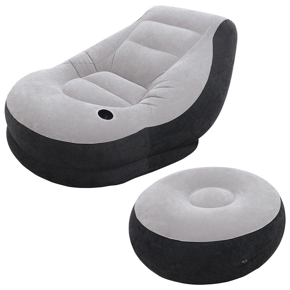 Everything Imported Inflatable Chair Ottoman Grey Black Standard Amazonin Electronics