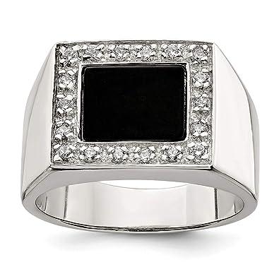 b6157ccd011d4 925 Sterling Silver Mens Cubic Zirconia Cz Black Onyx Band Ring Man ...