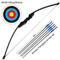 Outdoor Recurve Bow and Arrow Set Archery Training Toy(40LB,5¡ÁArrows,6¡ÁTarget Faces)