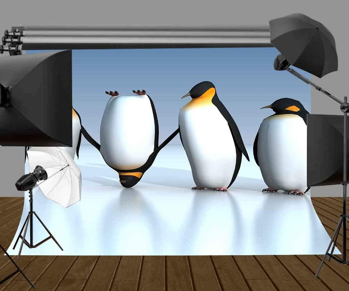 CdHBH 7x5ft Penguin Backdrop Cute Antarctic Penguin Animal Theme Photography Backdrop Photo Photography Background Props Studio Indoor Decorations LYXC166