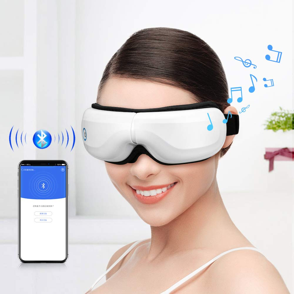 Bromose Wireless Foldable Rechargeable Eye Massager,Intelligent Mode One-Click Operation Eye Massager,Wireless Bluetooth Music Therapy Stress Relief for Eye Care Best Gift by Bromose