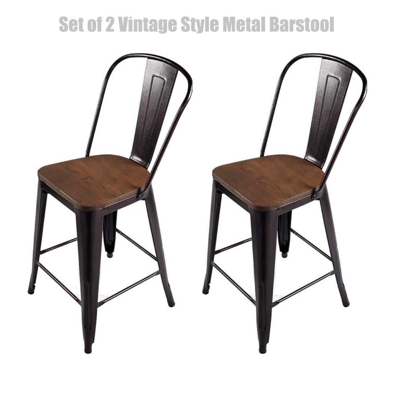 Vintage Style Metal Barstool Solid Steel Construction Comfortable Backrest Scratch Resistant Side Chair Home Office Furniture - Set of 2 Copper 24''H #1433