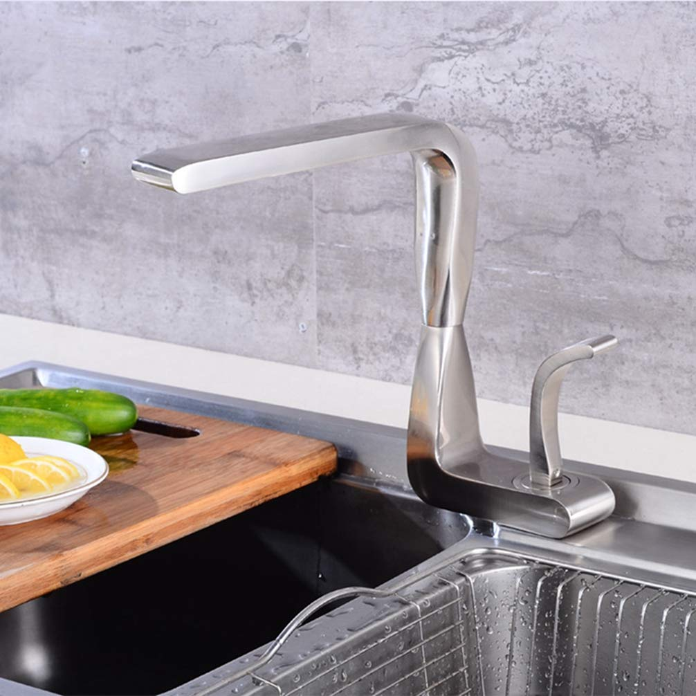 FZHLR European brass bruhsed nickel kithen faucet, Vegetable basin faucet hot&cold mixer tap crane torneira cozinha