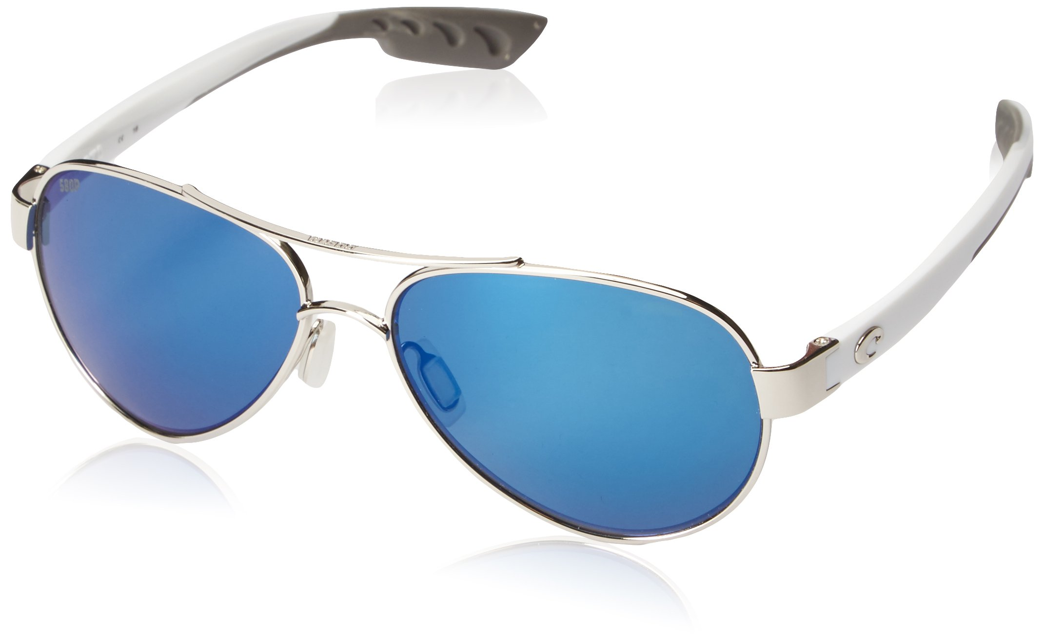 Costa del Mar Loreto Sunglasses Palladium w/White/Blue Mirror 580Plastic by Costa Del Mar