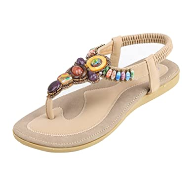 bf7aba357507 Zicac Women s Bohemian Thong Sandal Elastic Back Strap Clip Toe Flats  Sandals Black