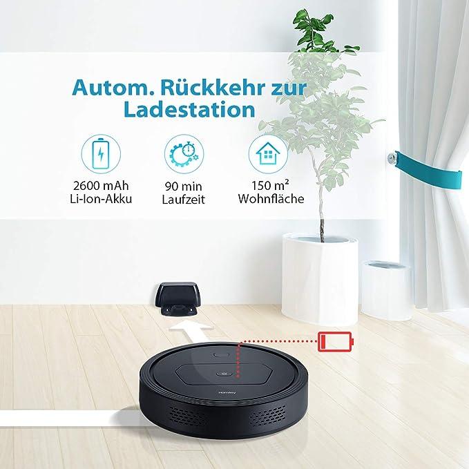Robot aspirador Homasy con potente aspiradora de 1300 PA, para suelos duros y alfombras finas, perfecto para propietarios de mascotas, limpia suelos duros, ...